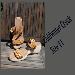 COLDWATER CREEK Brown Wedge Espadrilles Size 11M